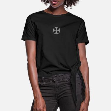 Germany Iron Cross Eisernes Kreuz Outlaw Oldschool Tattoo - Women's Knotted T-Shirt