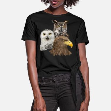 Sharp Pigargo and Owls - Women's Knotted T-Shirt