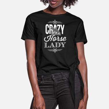 Crazy Horse Lady - Western riding - white edition - Women's Knotted T-Shirt