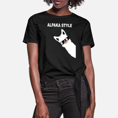 Manure Fork Funny alpaca design alpaca style saying - Women's Knotted T-Shirt