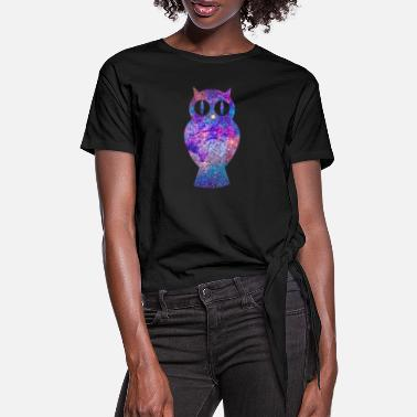 Uil Psychedelische Owl Gift Psy Trance Music - Vrouwen Geknoopt shirt