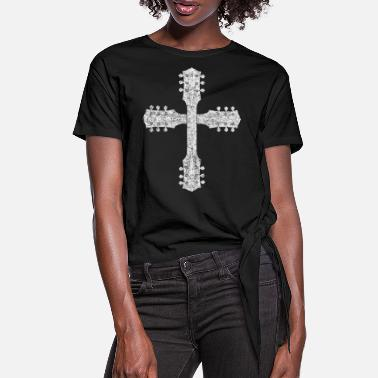 Worship Cross Christian Worship Team Guitar Cross - Women's Knotted T-Shirt