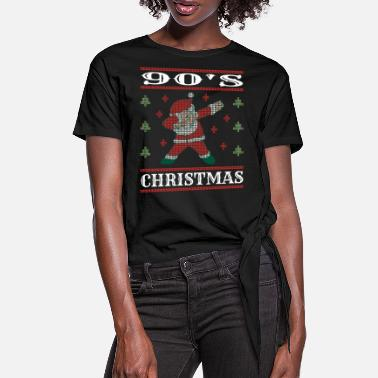 90s 90's christmas ugly sweater 1990s - Women's Knotted T-Shirt