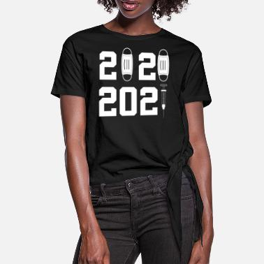 Face 2021 face mask - happy new year sticker - Women's Knotted T-Shirt