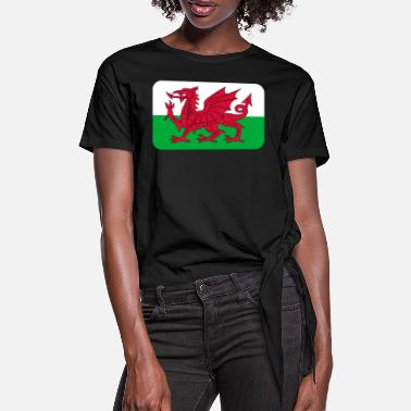 WALES FLAG round corner 400 dpi - Women's Knotted T-Shirt
