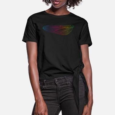 iridescent lines of a dragonfly wing - Women's Knotted T-Shirt