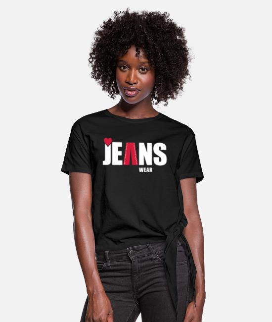 Torn T-Shirts - jeans wear_heart - Women's Knotted T-Shirt black