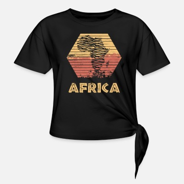 Africa Nature Retro Style Gift Map Country - Knotted T-Shirt