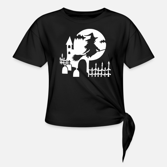 Halloween T-Shirts - Halloween - witch cemetery - white - Knotted T-Shirt black