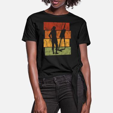 Silhouette Art Artist Painting Painter Retro - Women's Knotted T-Shirt