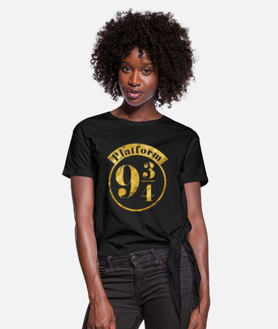 Official License T-shirts - Harry Potter Platform 9 3/4 Gold - Dame knot-shirt sort