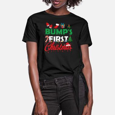 Mommy To Be Bump's First Christmas Funny Mommy To Be Christmas - Vrouwen Geknoopt shirt