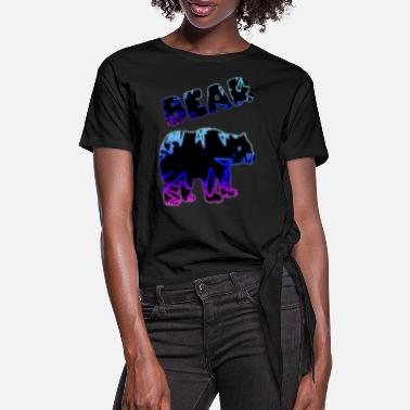 Bright The bright colors of the neon bear - Women's Knotted T-Shirt