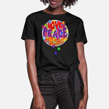 Amis Pour La Vie Flower Power Hippie LOVE PEACE MUSIC 2 - T-shirt à nœud Femme