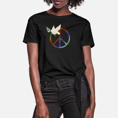 Peace Design | Dove with a branch - Women's Knotted T-Shirt