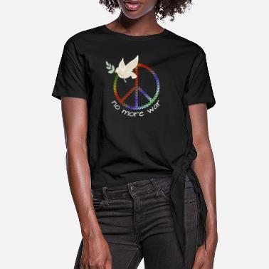 NO MORE WAR | Peace Design | Dove with a branch - Women's Knotted T-Shirt