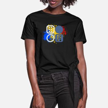 Dice Backgammon and dice - Women's Knotted T-Shirt
