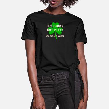 Feckin Feckin Eejit Distressed for St Paddy's Day - Women's Knotted T-Shirt
