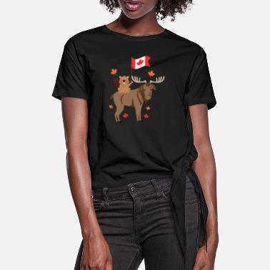 Moose Canada day with flag beaver and moose gift - Women's Knotted T-Shirt