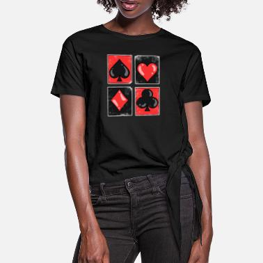 Playing Playing Card Heart Checking Cross Piek Card Card Game - Women's Knotted T-Shirt