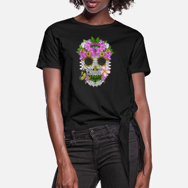 Day Of The Dead Dia De Los Muertos Skull Flowery Day Of The Dead - Women's Knotted T-Shirt