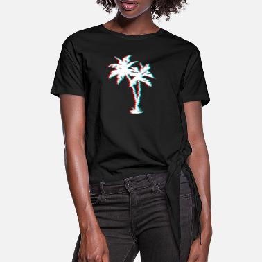 Glitch Palm Tree With Glitch effect Aesthetic Vaporwave - Women's Knotted T-Shirt
