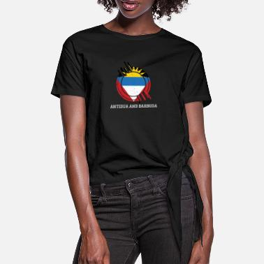 Antigua Antigua and Barbuda Round Sign Country Colors - Women's Knotted T-Shirt
