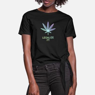 Pastel Legalize it! - Cannabis leaf pastel colored - Women's Knotted T-Shirt
