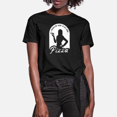Gaming Pizza Gamer Girl Gaming Pizza Gamer Girl - Women's Knotted T-Shirt