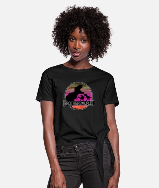 Design T-Shirts - 3 Brother Dinosaurs, Brothersaurus retro shirt - Women's Knotted T-Shirt black