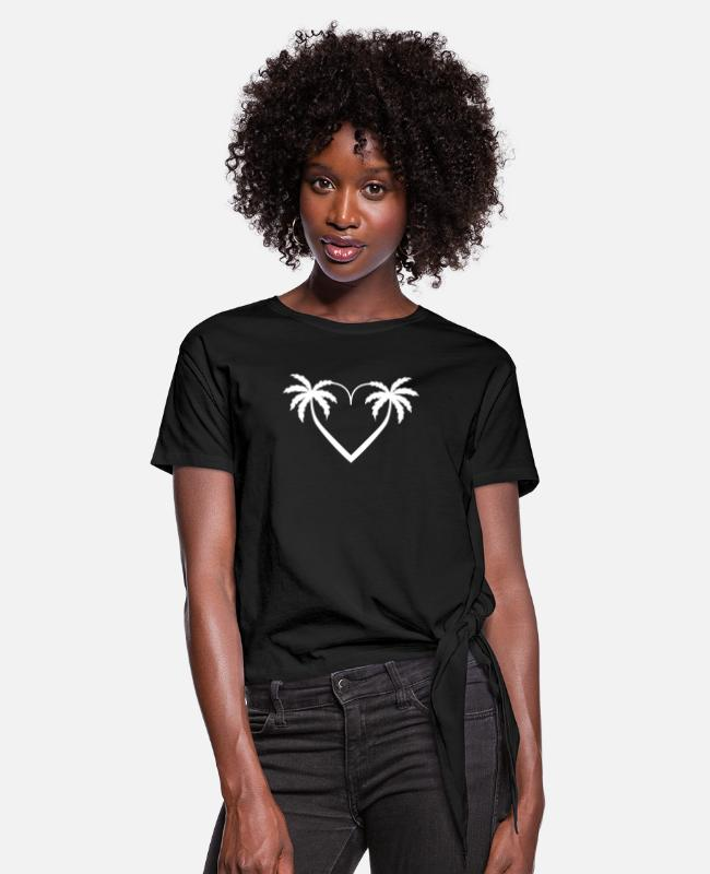 Surf T-Shirts - palm heart honeymoon - Women's Knotted T-Shirt black