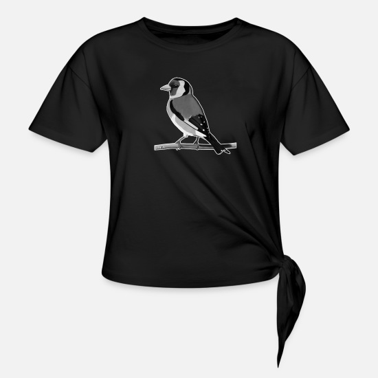 Forest Animal T-Shirts - jz.birds goldfinch bird design illustration - Knotted T-Shirt black