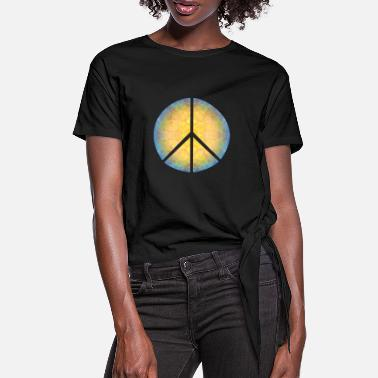 Hippiestijl Peace on Earth, Moon & Sun trippy hippiestijl! - Vrouwen Geknoopt shirt