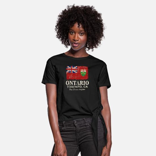 Canada T-Shirts - Ontario Flag - Canada - Vintage Look - Women's Knotted T-Shirt black