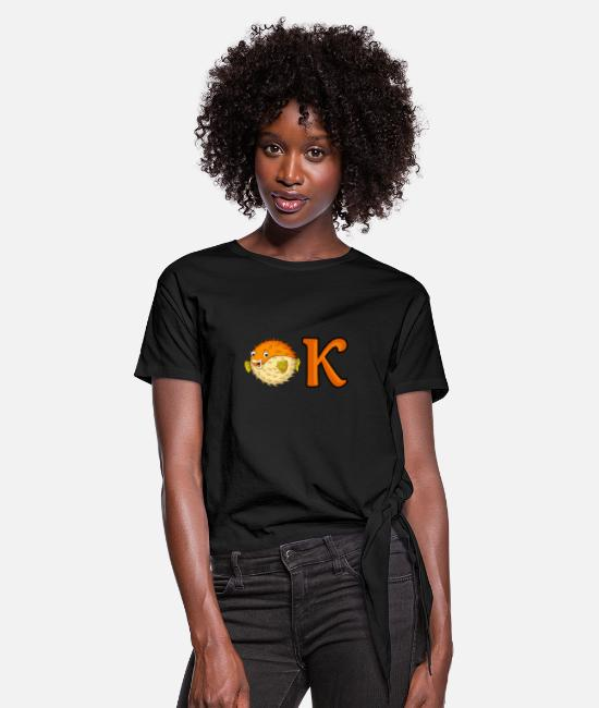 Puffer Fish T-Shirts - OK puffer - Women's Knotted T-Shirt black