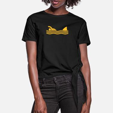 Irony swimmer with shark - Women's Knotted T-Shirt