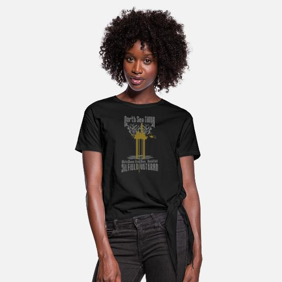 Oil Rig T-Shirts - Oil Rig Oil Field Veteran - Women's Knotted T-Shirt black