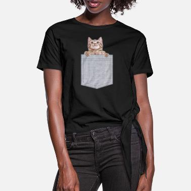 I Love Pocket Cat Peeking Kitten - Women's Knotted T-Shirt