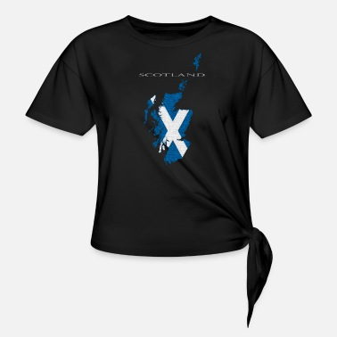 Scotland Map With White Text - Knotted T-Shirt
