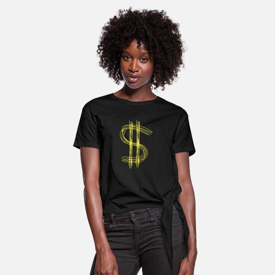 Symbol  T-Shirts - Dollar sign dollar - Women's Knotted T-Shirt black