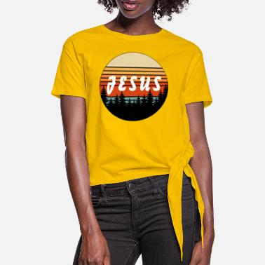 Religious Jesus Retro Vintage Sunset - Christian - Women's Knotted T-Shirt
