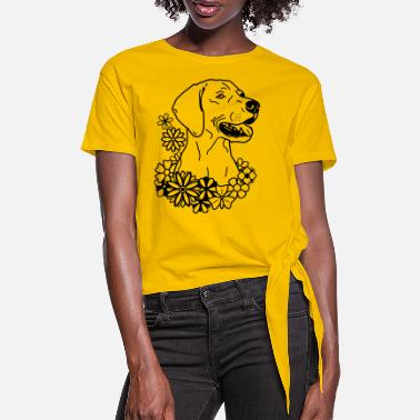WeimaranerFlower 2020 01- www.dog-power.nl © - Women's Knotted T-Shirt