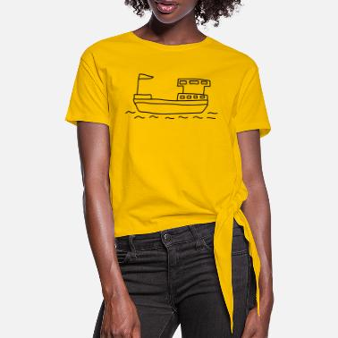 Freighter Ship Houseboat - Women's Knotted T-Shirt