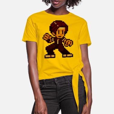 Beat Em Up Pixel Fighter KempoGuy (Vintage Print) - T-shirt à nœud Femme