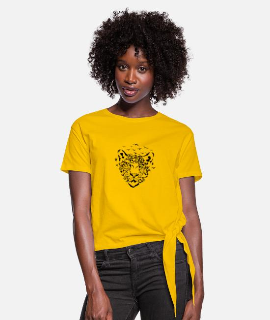 "Birthday T-Shirts - Leopard ""fly away"" - Women's Knotted T-Shirt sun yellow"