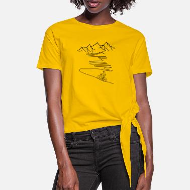 Racing bike with mountain, alpine pass - Women's Knotted T-Shirt