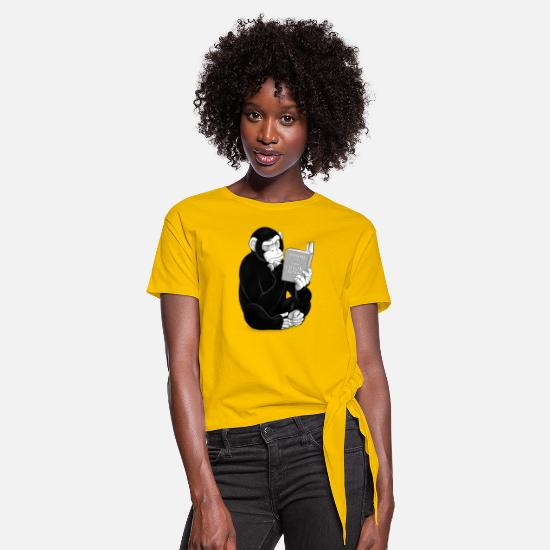 Reading T-Shirts - Origin of Species - Women's Knotted T-Shirt sun yellow