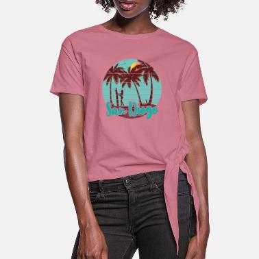 San Diego Beach Surf Girl - Women's Knotted T-Shirt