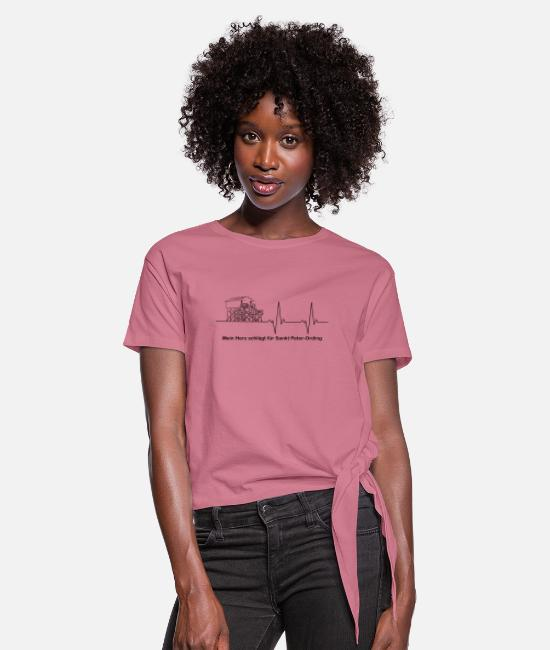 Water T-Shirts - Pulse line pile construction black My heart beats ... - Women's Knotted T-Shirt mauve
