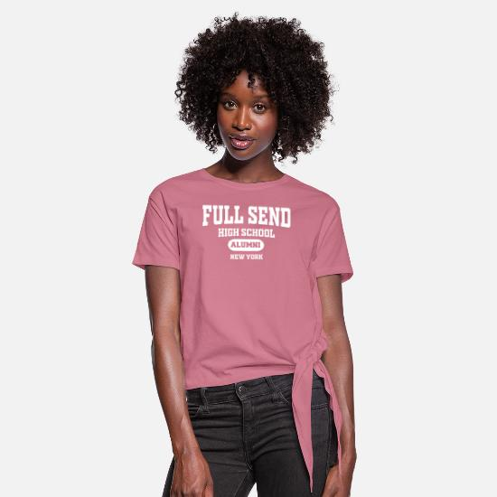 New Father T-Shirts - New Full Send New York - Women's Knotted T-Shirt mauve